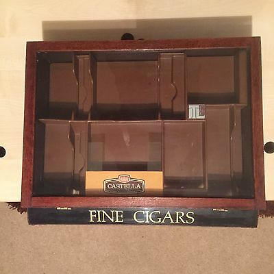 Castella Cigar Counter Top Display Case with Advertising. Glass Fronted