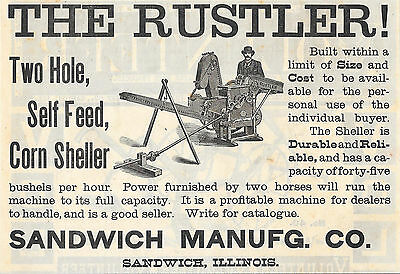 Big 1891 Sandwich Rustler Two Hole Corn Sheller Ad Sandwich Il Illinois