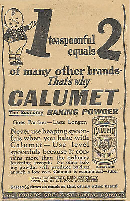 1923 Calumet Baking Powder Ad Advertisement One Teaspoon Equals Two