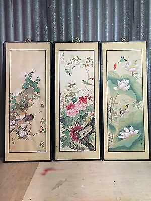 3 Vtg Chinese Hand Painted wood Framed Silk Panels SIGNED Asian japanese birds