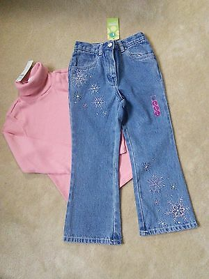 Gymboree Girl's Winter Outfit Jeans and Turtleneck Top size 5 NWT Snow Angels