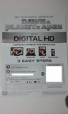 Dawn Of The Planet Of The Apes DIGITAL HD DOWNLOAD ONLY - NO DISC!