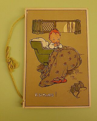Mabel Lucie Attwell: Visitors - Postcard/Christmas Xmas Card - Written In - VGC