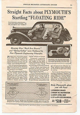 "Vintage, Original, 1935 - Plymouth ""Floating ride"" Advertisement  - Automobile"