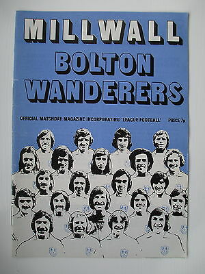 MILLWALL v BOLTON WANDERERS LEAGUE CUP 73/74