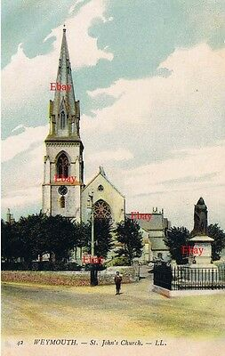 PPC Louis Levy LL42 Weymouth St John's Church + Statue of Queen Victoria c 1900