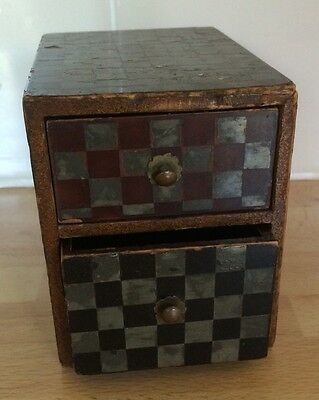 Vintage Wooden Drawer Unit, Two Drawers. Miniature.Asian Japanese/Chinese .