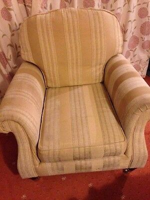 Armchair, large, upholstered, deep cushions, hardwearing fabric