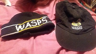 wasps rugby. childs beanie and cap