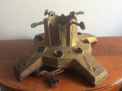 Antique Art Deco Cast Iron Lighted Christmas Tree Stand North Bros Yankee No 5