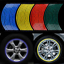 Reflective BLUE rim tape for motorcycle motorbike car bike wheels UK decal fast