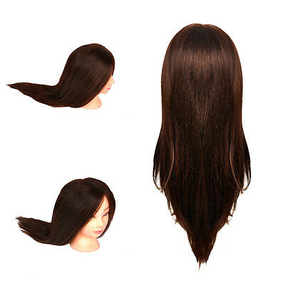 UK Real Human Hair Hairdressing Training Practice Head Doll Mannequin + Clamp