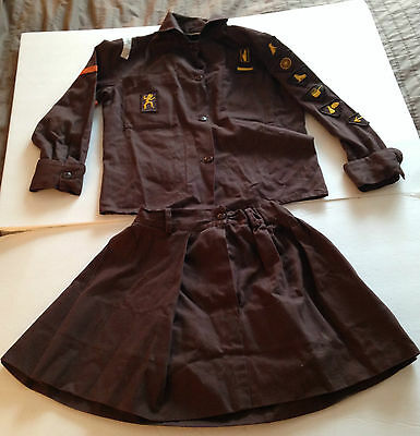 1970's Canadian Girl Guides  Two Piece Brownie Uniform  and Brownie Memorabilia