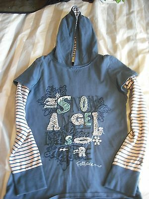 Beautiful girls Fat Face long sleeved 'snow angel' hoodie size 12-13