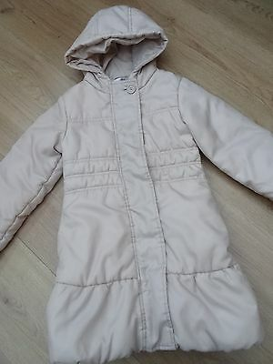 Girls M&s Age 5-6 Years Winter Coat With Hood Golden Beige Colour