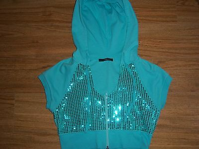 Jane Norman green short sleeve girls hoodie with glitter size 12