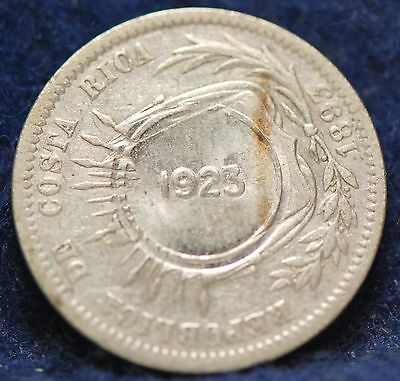Costa Rica, 1923/1893 50 Centimos, silver, About UNC, #2                   3gmr.