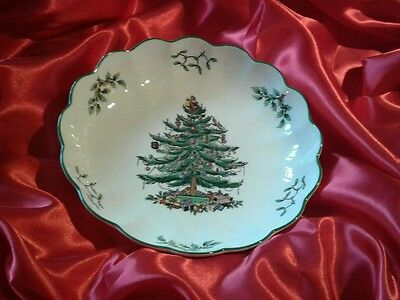 "Spode Christmas Tree Porcelain Serving Dish Bowl 8.5"" wide Excellent Condition"