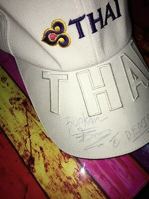Top King Muay Thai White Basecap signature From Buakaw