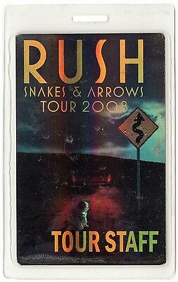 Rush authentic 2008 tour Laminated Backstage Pass
