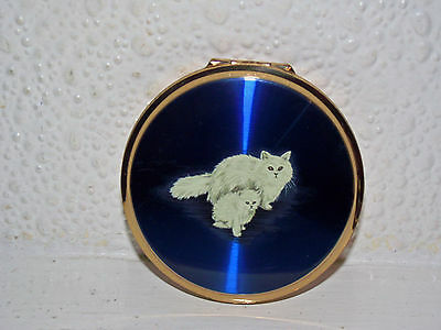 Vintage Stratton Enamel Powder Compact With Cats,boxed.