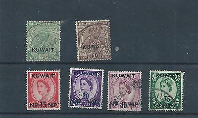 Kuwait stamps. 1957 QEII Used plus a couple of GV (V655)