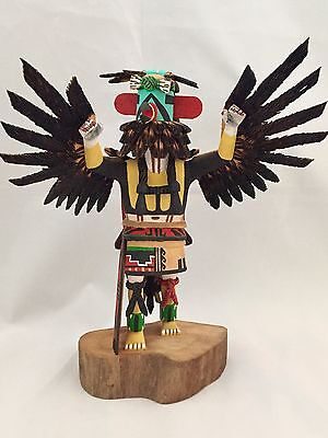 "Hopi Carved 7.75"" Eagle Dancer Sculpture By Ron Duwyenie"