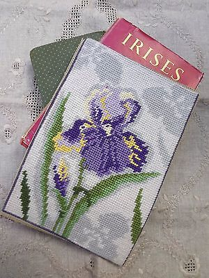 VINTAGE FLORAL BLOOM Completed Needlepoint Tapestry Panel; IRIS