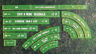X-wing promo acrylic maneuver templates from 2014 Regionals + Range ruler. Rare