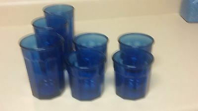 Cobalt Blue Tumblers Lot of 3-16 oz, 4-12 oz