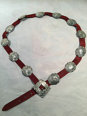 NAVAJO Sterling Silver and Leather Concho Belt