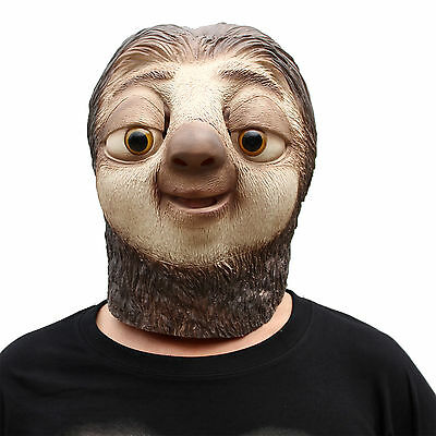 Halloween Fancy Dress Masquerade Party Costume Folivora Sloth Animal Latex Mask