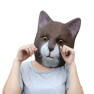 Easter New Fancy  Latex Full Head Burma Cat Mask Masquerade Costume Dress Party