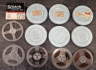 Vintage Reel To Reel Tapes Spools Metal Cases - Some Morse Training?