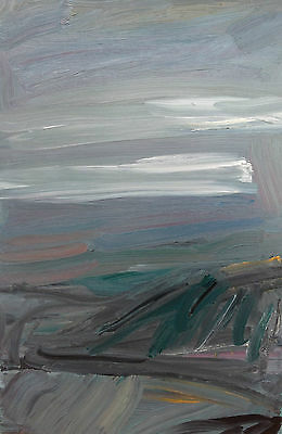By The Sea Contemporary Abstract landscape painting oil on canvas, signed