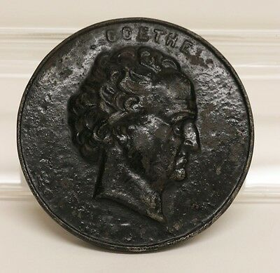 Antique German Goethe Cast Iron Paperweight Large Medal 1830/50's ?