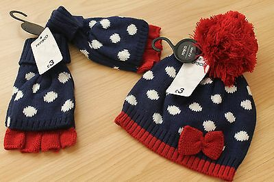 childrens hat & gloves set navy with white spots ideal Christmas present 4-6 yrs