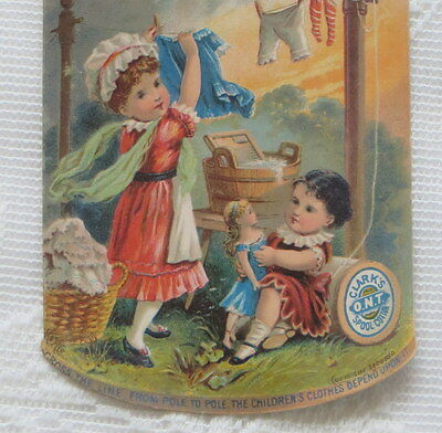 Victorian Trade Card,  Clark's ONT Spool Cotton, Wash Day
