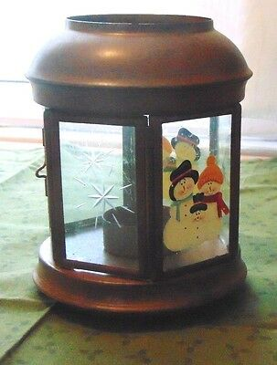 Christmas Winter Antiqued Metal Candle Holder Cut Glass Panels Painted Snowmen