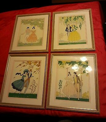 4 French Antique Engraving Prints Woodblock Watercolour Signed By Lucien Baubant