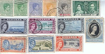 13 different older used stamps from Bahamas
