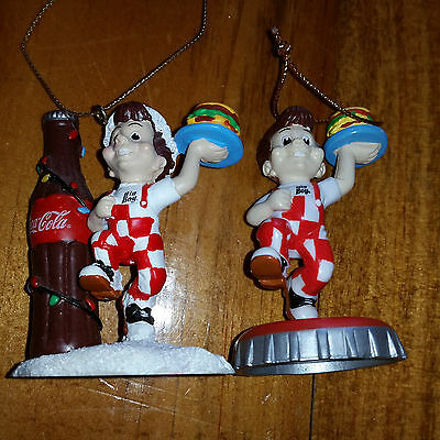 Two Frisch's Big Boy Coca Cola Coke Christmas Ornaments 2002
