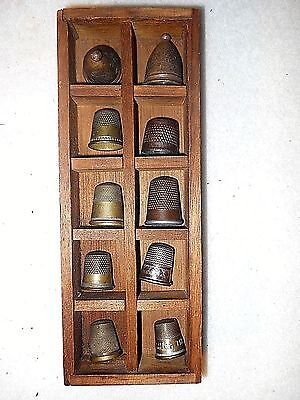 Vintage Thimble Box with 10 Old Brass Thimbles-Wall Display Box-Some Labeled