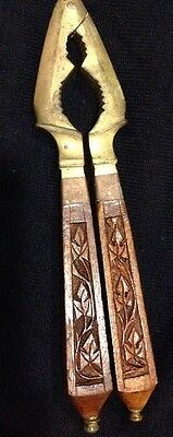Vintage Brass & Carved Wood Handle Nutcracker from India