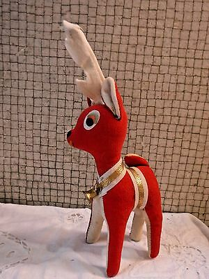 "VINTAGE  10"" Saw Dust Filled Santa's Reindeer Stuffed Toy Collectible"