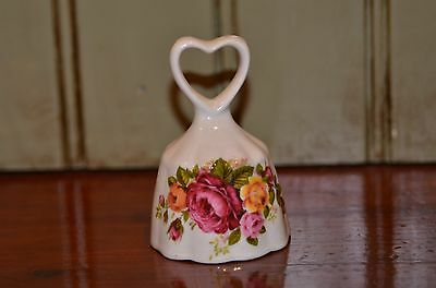 Vintage Cottage Rose Fine Bone China Bell With Heart