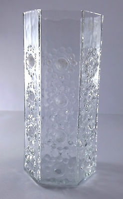 Dartington Clear Art Glass Frank Thrower Design FT95 Hexagonal Nipple Vase XRate