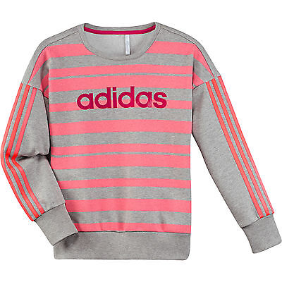 Size 9/10 Years Old - Adidas Originals 3 Stripes Crew Sweatshirt Grey / Pink