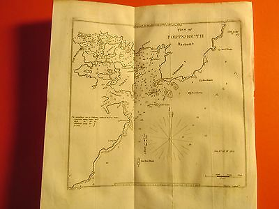 Antique Vintage Old 1841 Map Nautical Maritime Chart Portsmouth NH