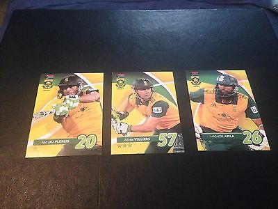 3 Assorted South Africa Cricket Cards Amla Abdevilliers Duplessis